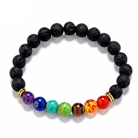 Essential Oil Chakra Bracelet with Lava Stone Beads