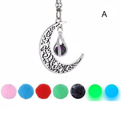 Aromatherapy Moon Pendant Diffuser Necklace
