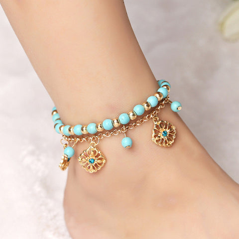 Ocean-Blue Beads & Flowers Ankle Bracelet