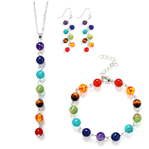 Chakra Bead Necklace, Earrings, and Bracelet Matching Set