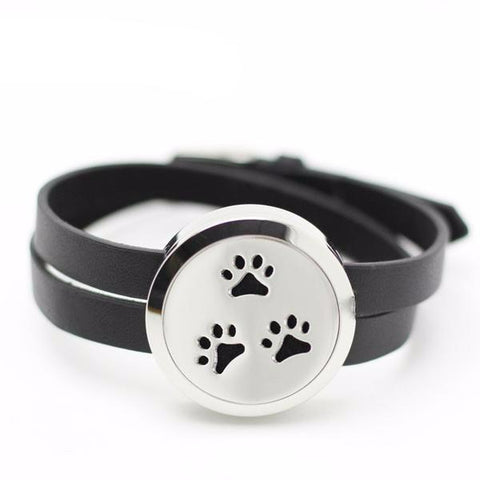 Puppy Paw Leather Wrap Essential Oil Diffuser Bracelets