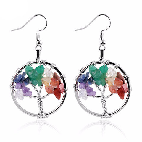 Tree of Life Natural Rock Earrings
