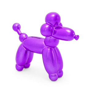 Balloon Money Bank French Poodle - Purple