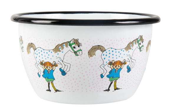 Enamel Bowl 6dl (Pippi and the horse)
