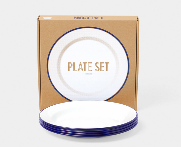 24cm plate set (box of 4) Blue rim