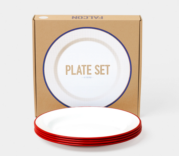 24cm plate set (box of 4) Red rim