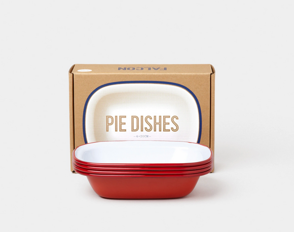 Pie Dishes set (box of 4) Red rim