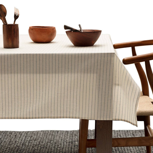 Table Cloth/Natural striped (254cm x 152cm)