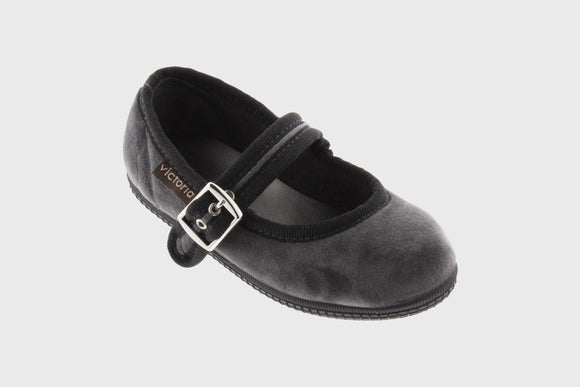 Kids Velvet Maryjane shoes (grey)
