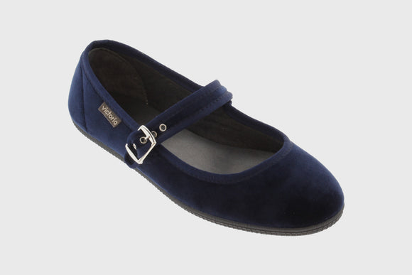 Velvet Maryjane shoes (deep blue)