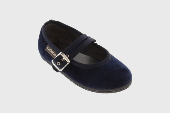 Kids Velvet Maryjane shoes (deep blue)