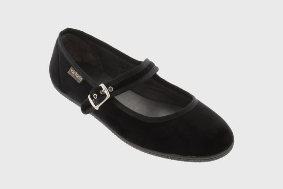 Velvet Maryjane shoes (black)