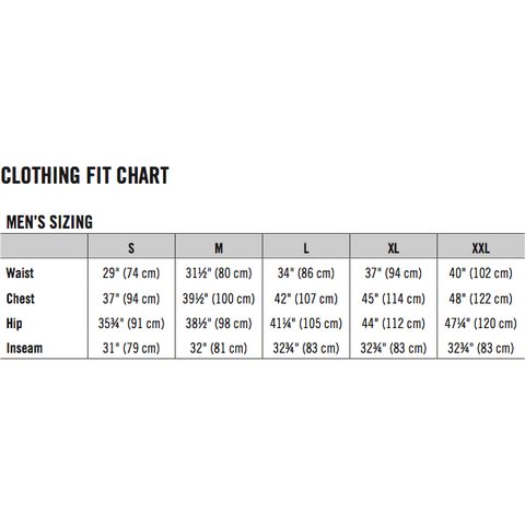 race face chute jacket sized chart - dunabr cycles