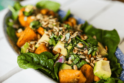 Spicy Roast Pumpkin, Baby Spinach and Avocado