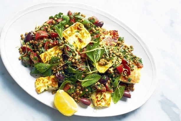 Lentil Tabbouleh with Haloumi