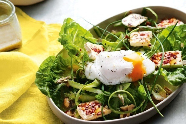 Asparagus, Egg and grilled Feta Salad