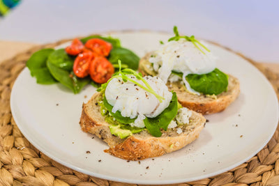 Poached Eggs with Avo Smash on Sourdough