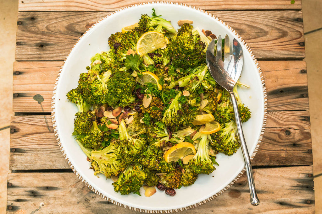 Roasted Broccoli with Cranberries and Lemon