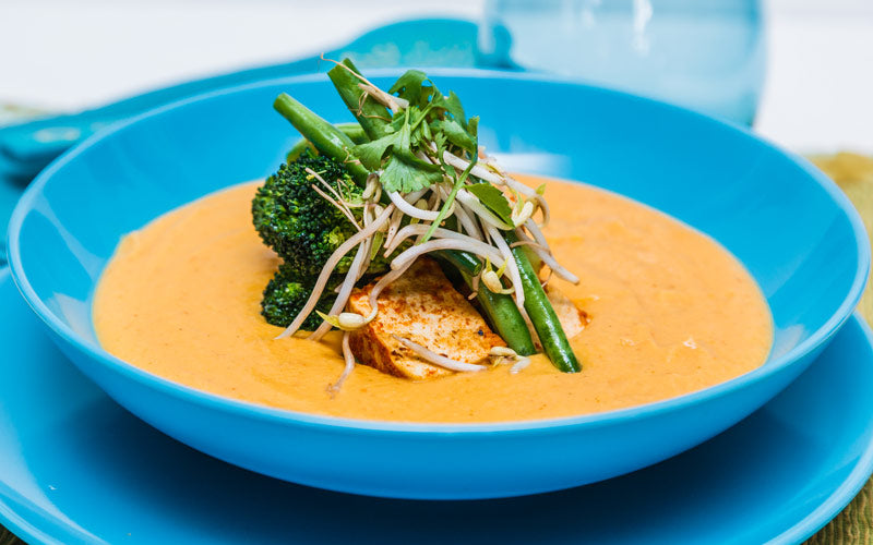 Red Curry Cauliflower Soup with Grilled Vegetables & Tofu