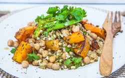Quinoa, Roast Pumpkin and Chickpea salad.