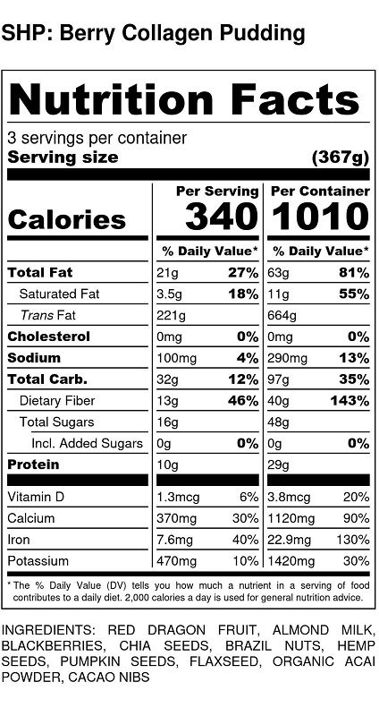 Berry Collagen Pudding nutritional value