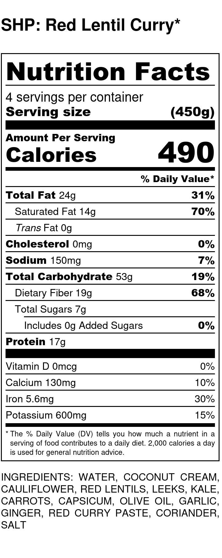 Red Lentil Curry Nutritional Info
