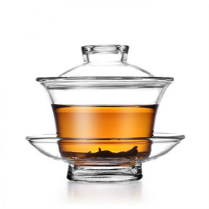 Chinese Glass Gaiwan Traditional Tea Cup | Includes Cup, Saucer, and Lid