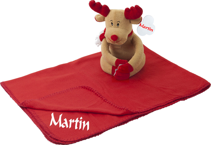 Personalised plush toy with personalised fleece blanket