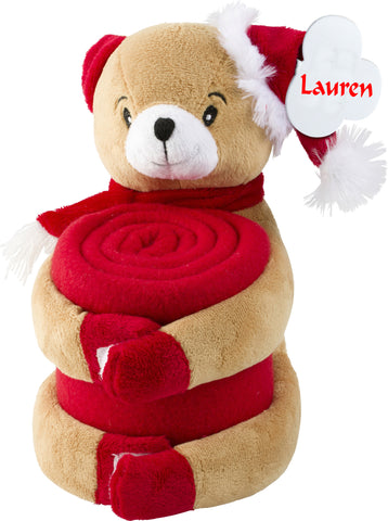 Personalised plush bear with personalised red fleece blanket
