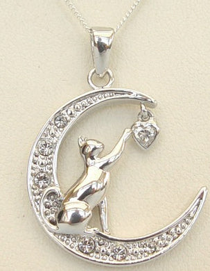 CAT jewellery - Crescent moon. Silver and cubics zirconia