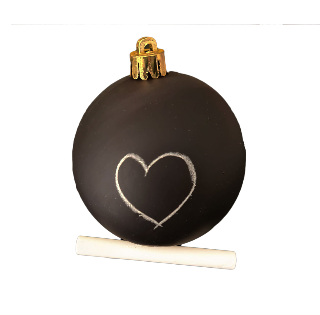 Black Chalk-board bauble. Write your own name and put your own designs