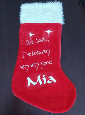 Personalised Christmas Stocking Dear Santa with PawPrint