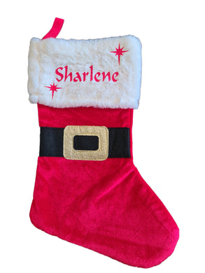 Personalised Christmas stocking with black belt and gold buckle.  Top is super soft.