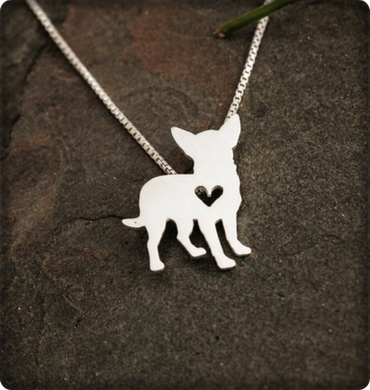 DOG - Chihuahua Standing Heart pendant