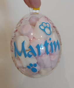 Personalised Clear Easter Egg with name