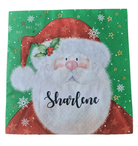 Father Christmas serviette/napkin with black name. Autumn in November font