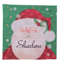Father Christmas serviette/napkin with black name. Belladonna Font.