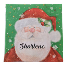 Father Christmas serviette/napkin with black name. Ladybird font