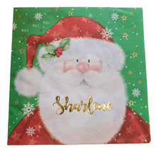 Father Christmas serviette/napkin with gold name. Autumn in November font