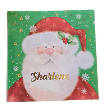 Father Christmas serviette/napkin with gold name. Ladybird font