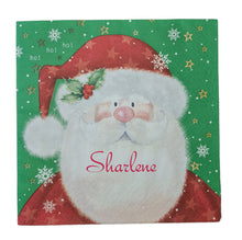Father Christmas serviette/napkin with red name. Belladonna  font