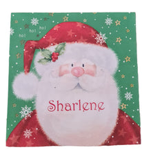 Father Christmas serviette/napkin with red name. Harrington font