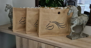 Jute Tote Bag with horse image
