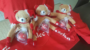 Personalised teddy with personalised Christmas bauble
