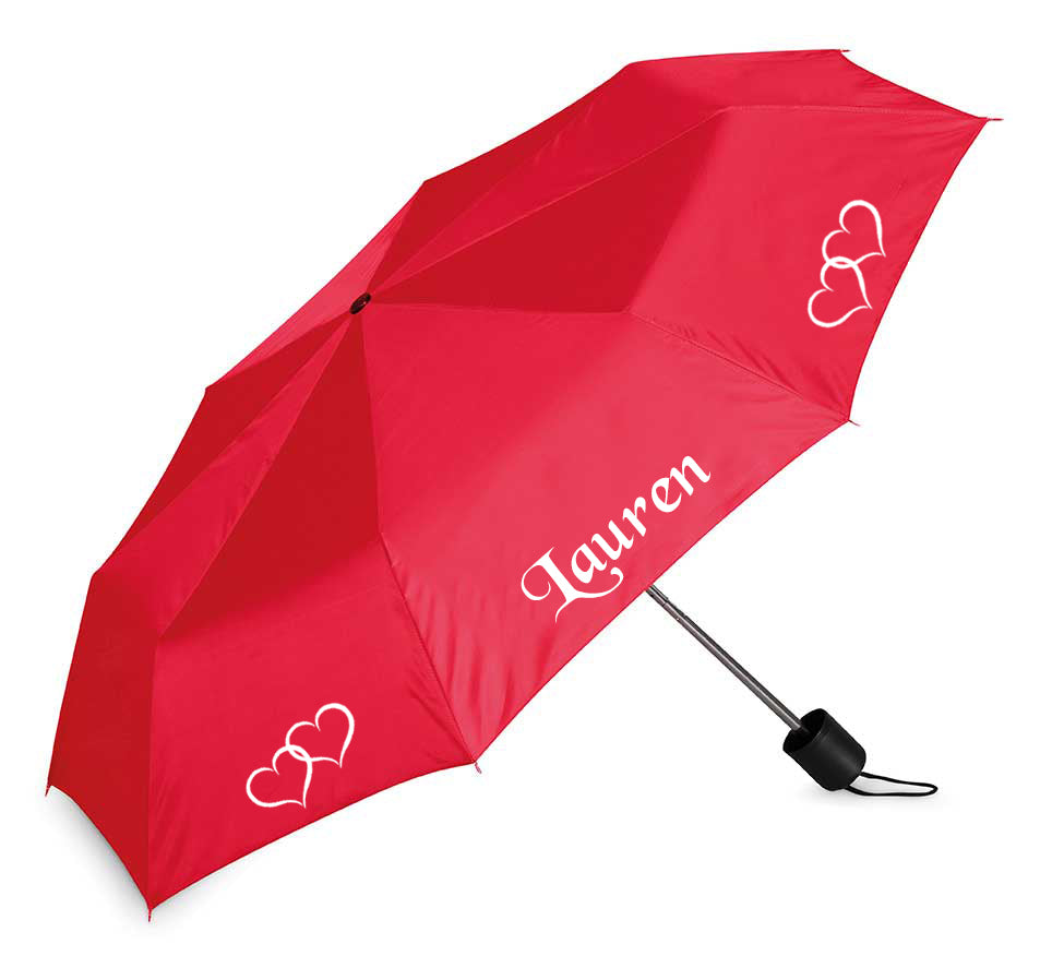 Valentine Umbrella - hearts and your name