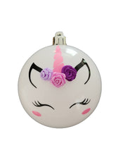 Personalised Unicorn Christmas bauble with embellishments