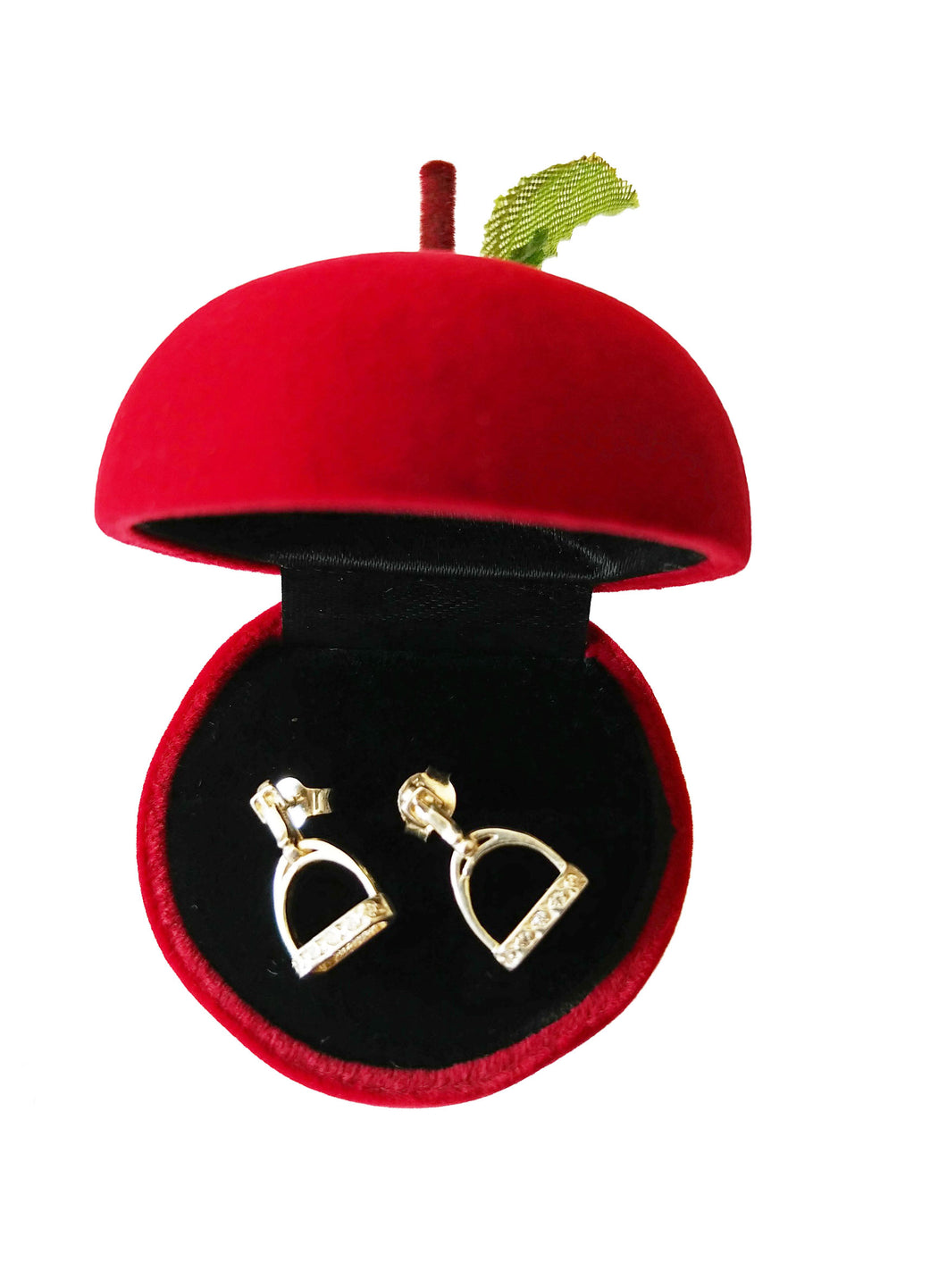 Equestrian Jewellery.  Stirrup Earrings with Cubics Sirconia
