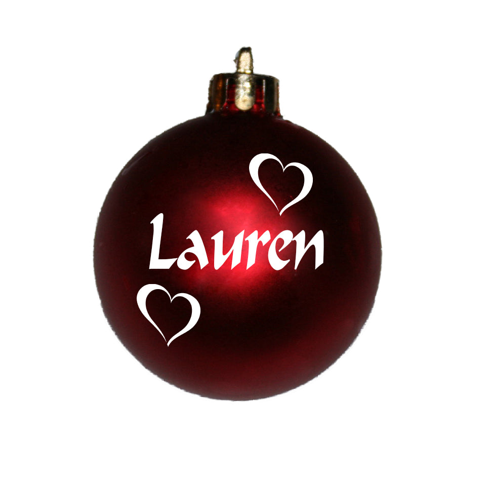 Personalised Christmas Bauble with hearts