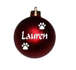 Personalised Christmas bauble with pawprints