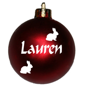 Personalised Christmas Bauble with BUNNY image